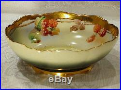 Hand Painted Pickard Bowl, Raspberries And Gold, Signed Nessy