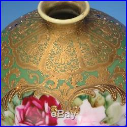 Hand Painted Nippon Large Round Jeweled Gold Embossed Butterflies Roses Vase