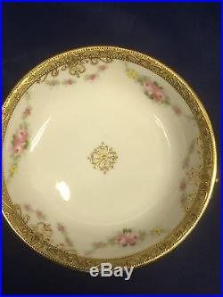 Hand Painted Nippon Morimura Berry/Dessert Bowl Set with Pink Roses 7Pc