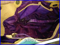 Handpainted Anushka Tote Shoulder Turqoise Gold Paisley Floral Leather 14x12x5