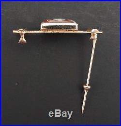 Hereford English Reverse Intaglio Hand Painted Crystal On 14K Gold Fence Brooch