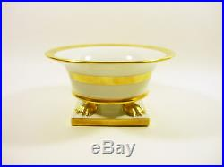 Herend, Gold & White Or Clawfoot Cachepot Vase 5.6, Handpainted Porcelain
