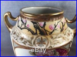 Imperial Nippon Hand Painted Songbird Vase Large Gold Moriage 10