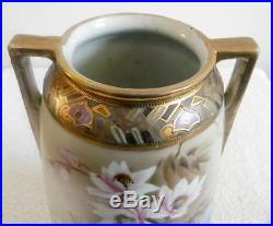 Imperial Nippon hand painted vintage vase with snow flowers gold FREE SHIP