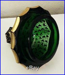 Incredible 19thC Moser Glass 12 Gilded Pokal Covered Jar Raised Cabochons Urn