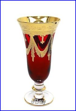 Interglass Italy Set of 2 Crystal Red Champagne Glasses, 24K Gold-Plated Flutes