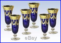 Interglass Italy Set of 6 Navy Blue Crystal Champagne Flutes Glasses 24K Gold