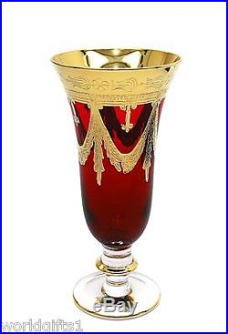Interglass Italy Set of 6 Red Crystal Champagne Flutes Glasses 24K Gold 9 oz