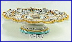 Italian Cake Stand Hand Painted Majolica Pedestal Plate Made for Bloomingdales