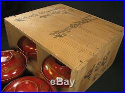 Japanese Antique Signed Set Of 8 Hand Painted Gold Makie Lacquer Lidded Bowl