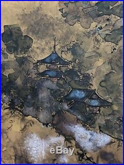 Japanese Silk Screen 4 Panel Hand Painted Gold Landscape Boat Vintage Chinese