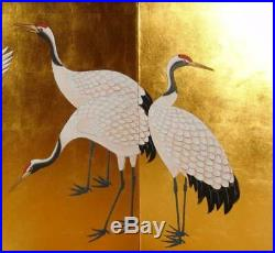 Japanese Traditional Hand Painted Byobu (Gold Leaf Folding Screen) T32
