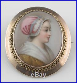 Large Victorian 10k Gold With Hand Painted Lady On Porcelain Brooch Pin/pendant
