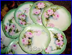 LIMOGES PLATES(8)HAND PAINTED ROSES &GOLD EACH ARTIST SIGNEDca1890sMint