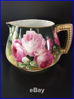 LOVELY JPL Pouyat LIMOGES Hand Painted Red, Pink Roses Gold CIDER PITCHER Signed