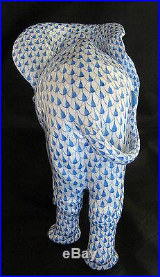 Large Herend Elephant Hand Painted Blue Fishnet & Gold
