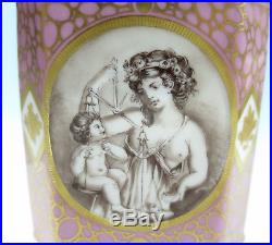 Le Tallec Limoges Porcelain Apothecary Jar Hand Painted Scenes Pink Gold French