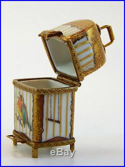 Limoges France Hand Painted Hinged Trinket Box, Gold Bird Cage, Gerard Ribierre