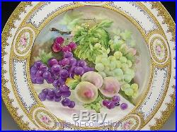 Limoges France Hand Painted Roses, Peaches & Grapes Raised Gold Cabinet Plate