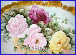 Limoges Guerin handpainted roses gold guild large plate tray