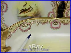Limoges Hand Painted Fish Service Pink Roses Swag Gold Artist Signed 9 Pieces