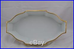 Limoges Hand Painted Mark Blurred Footed Center Console Bowl Thick Double Gold