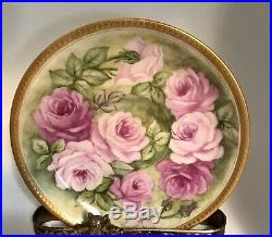 Limoges Roses Handpainted Gold Encrusted Guild Tea Cup And Saucer
