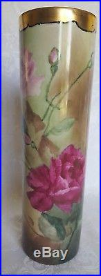 Limoges W. G. &Co William Guerin Hand Painted Vase France Roses& GOLD Signed E. B