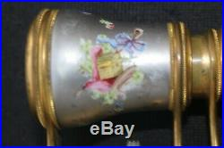 Lovely Lemaire Hand Painted Enamel Opera Glasses, Butterfly & Bird, Gold Wash