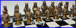 MEDIEVAL TIMES CRUSADES BUSTS GOLD SILVER Chess Set With 15 Gloss Black Board