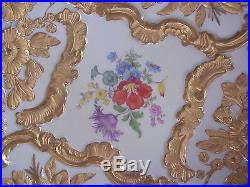 MEISSEN PORCELAIN BOWL MOLDED ROSES & HEAVY GOLD VERY ORNATE ROCOCO HAND PAINTED