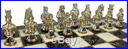 METAL Medieval Times Crusades Gold Silver Busts Chess Set Black Faux Marble Boar