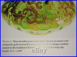 MOSER Royal Wedding 3 Handle Green Gold Pasted Gilt Glass Cup 1885 Very Rare