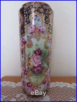 NIPPON HAND PAINTED TALL VASE GOLD GILT MORIAGE BEADED MAPLE LEAF c1891