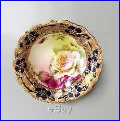 Nippon Hand Painted Bowl Cobalt Blue with Roses & Gold Moriage Beading