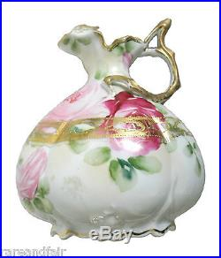 Nippon hand painted pitcher roses and gold designs FREE SHIPPING