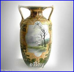Nippon vintage TALL beaded and hand painted vase gold designs FREE SHIPPING