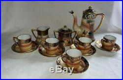 Noritake china coffee set. C. 1908-1920, hand Painted gold leaf. Set of 5 cups