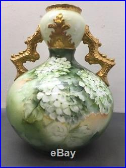 Old KT&K Lotus Ware Hand Painted 8 Vase Knowles Taylor Knowles Bulbous with Gold