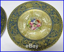 PAIR (2) ROYAL WORCESTER HAND PAINTED GOLD PLATE SET SIGNED E. Phillips