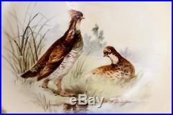 PAIR Antique Hand Painted LIMOGES Cabinet Plates, Game Hens, Raised Gold Enamel