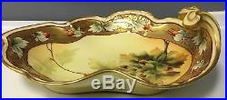 PICKARD Antique France Hand Painted Leaf Plate Dish Gold Green Orange GUC