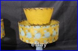 Pair 1957 Royal Di Monte 22K Gold & Blue Hand Painted 18 Electric Lamps withShade