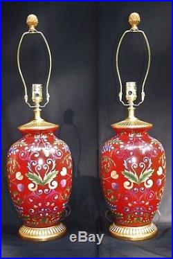 Pair Vintage Chinese Hand Painted Red Ginger Jar Table Lamps With Gold Accents