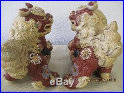 Pair of Vintage Large Ornate Hand Painted Foo Dog Statues with Gold Gilt 1960