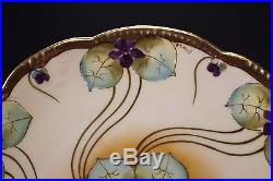 Pickard Hand Painted Artist Signed Swirling Gold and Violet Pansies 8 3/4 Plate