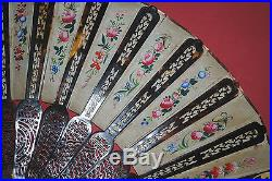 Rare Antique Chinese Gold Gilt Carved Faux Tortoiseshell Hand Painted Silk Fan