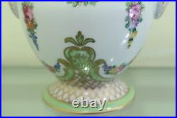 RARE Antique DRESDEN Hand Painted Porcelain Vase & Cover German 19 th Green/Gold