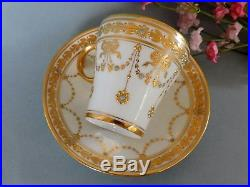 Rare Dresden hand painted jeweled and gold floral cabinet Cup & Saucer