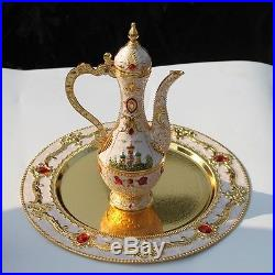 Rare Hand painted ancient Coffee, Tea and Wine set Castle pattern game of thrones